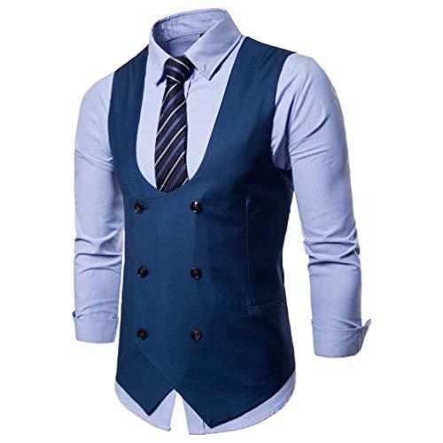 Business Slim Veste Rangée Sans Double Chengyang Boucle Bleu Gilet Costume Fit Manches Homme Mariage wgqqI18