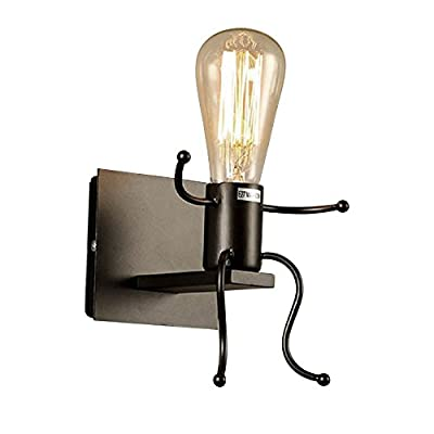 KAWELL Vintage Wall Light Modern Humanoid Metal Wall Lamp Art Deco Light Fixture Unique Bedside Sconces Lighting Edison E26/E27 for Bedroom, Children's Room, Corridor, Staircase,Bar (Black, 1 Base)