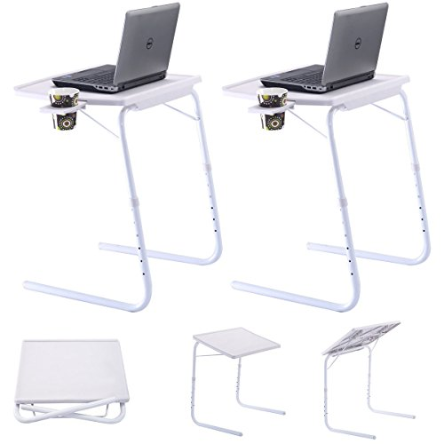 Custpromo 2 pieces Adjustable PC Laptop Desk Tray Home Office Used With Cup Holder by Custpromo