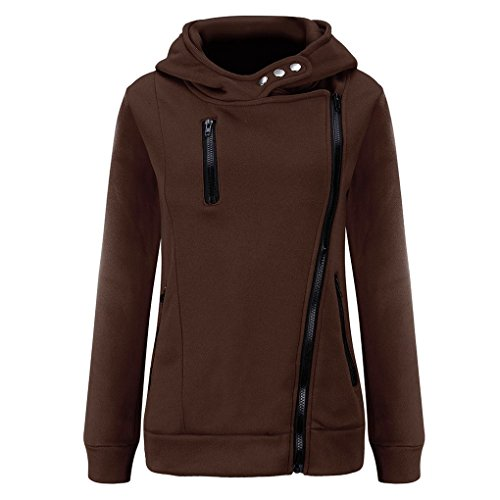 Women Hoodie,Haoricu 2016 Winter Autumn 1PC Women Long Sleeve Plus Velvet Thickened Hooded Sweater Zipper Pullover Coat (S, Coffee)