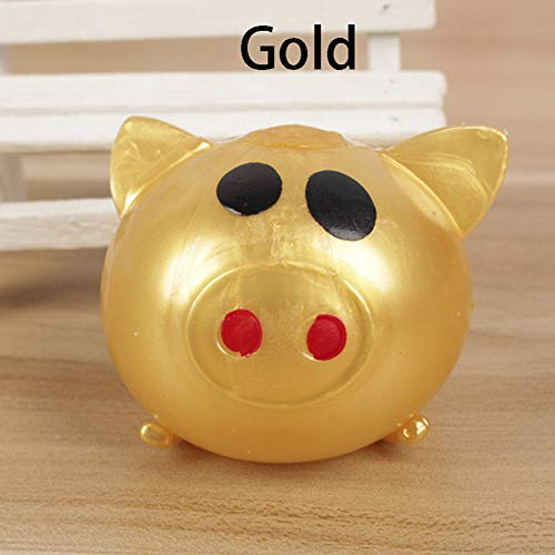 (CHoppyWAVE Squeeze Toys Stress Reliever, 1Pc Anti-Stress Decompression Splat Ball Vent Toy Smash Various Styles Pig Toys - Gold)