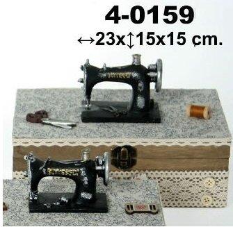 DonRegaloWeb - Costurero de madera con forma de caja rectangular decorado con una maquina de coser