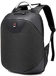 Travel Laptop Backpack 15.6 Inch with USB Charging, Large & Slim, Waterproof, for Women & Men - Black