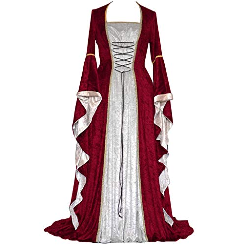 (MILIMIEYIK Womens Deluxe Medieval Renaissance Costumes Halloween Cosplay Dress Waist Tie Irish Over Victorian Retro Gown)