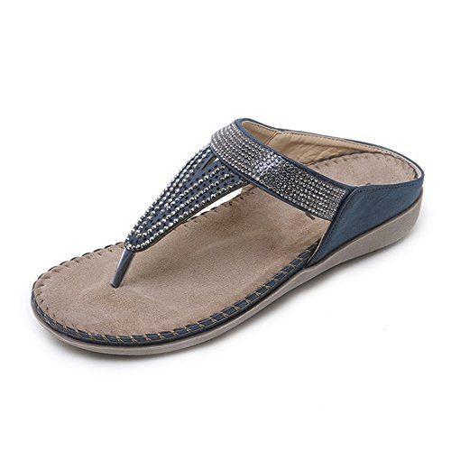Bas Summer Couleur Beige 37 Bleu Strass Pantoufles Boho Femmes Plates Chaussures Beach À 3 1 Taille Talons Sandals EU vFqwdfA