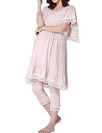 Sweet Mommy Maternity and Nursing Cotton Lace Pajama Set