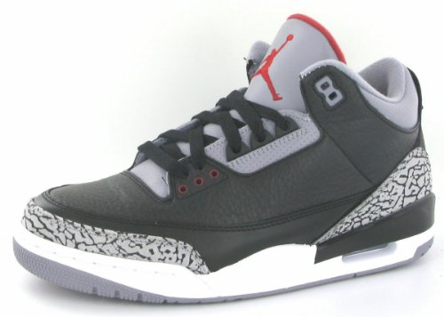 (Nike Mens Air Jordan 3 Retro Black/Varsity Red-Cement Grey Leather Size 10)
