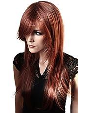 PRETTYSHOP parrucca Longhair calore ondulato resistenti fibre sintetiche Copper Brown 30/33 FZ505