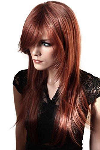 PRETTYSHOP peluca de la peluca pelo largo liso de fibra sintética resistente al calor rojo FZ505