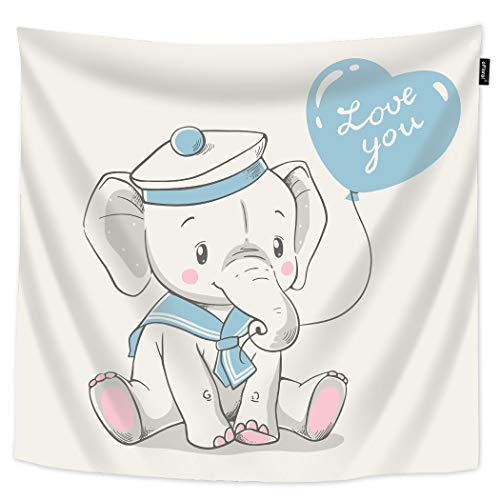 oFloral Elephant Tapestry Cute Baby Elephant in Sailor Costume Sitting Holding Balloon Decorative Wall Tapestry Home Decor Tapestries Wall Hanging for Bedroom Dorm Livingroom 60W40H (Baby Psychedelic Elephant Costumes)