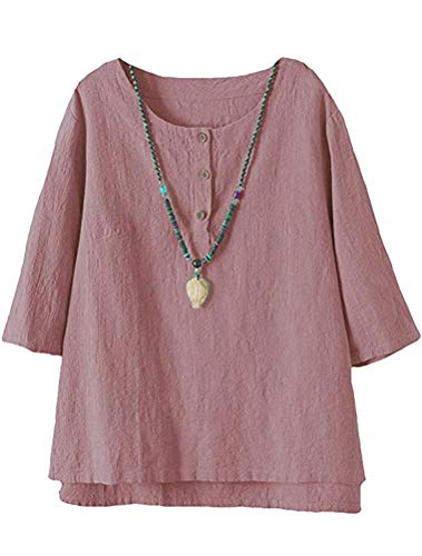 FTCayanz Women's Linen Tops Shirts Summer Casual Jacquard Tunic Blouse XX-Large Pink