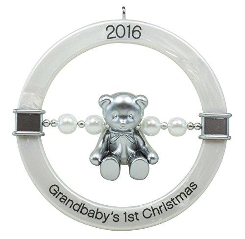 Hallmark Keepsake Ornament Grandbaby's 1st Christmas Teddy Bear Rattle 2016 (Christmas First Granddaughter's)