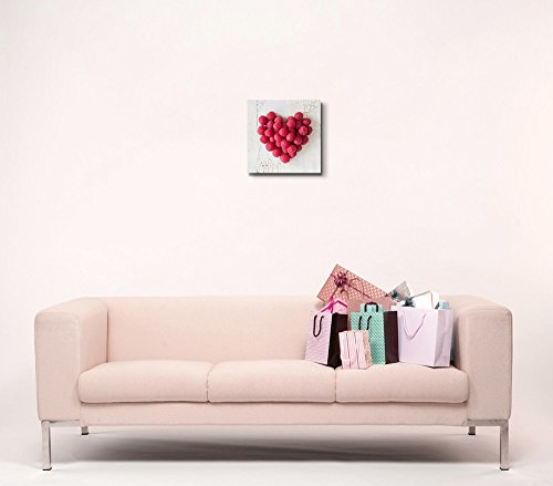 Heart Shape Formed by Fresh Raspberries Fruits Art Wall Decor