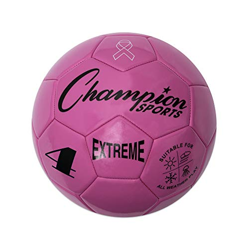 Champion Sports Extreme Series Soccer Ball, Size 4 - Youth League, All Weather, Soft Touch, Maximum Air Retention - Kick Balls for Kids 8-12 - Competitive and Recreational Futbol Games, Pink -