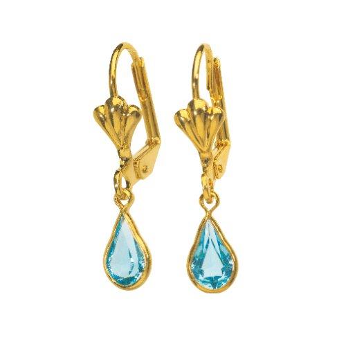 Jouailla - Boucles d'oreilles plaqué or et cristal turquoise
