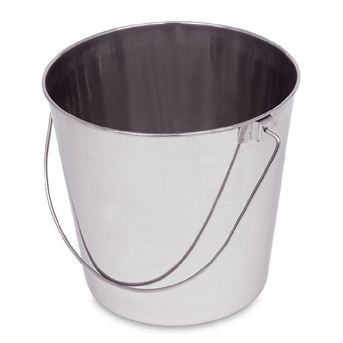 Stainless Steel Pail, 9 qt, 6 pack
