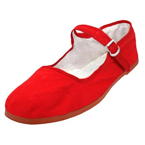 Shoes8teen Shoes 18 Womens Cotton China Doll Mary Jane Shoes Ballerina Ballerine Shoes 114 Red Canvas