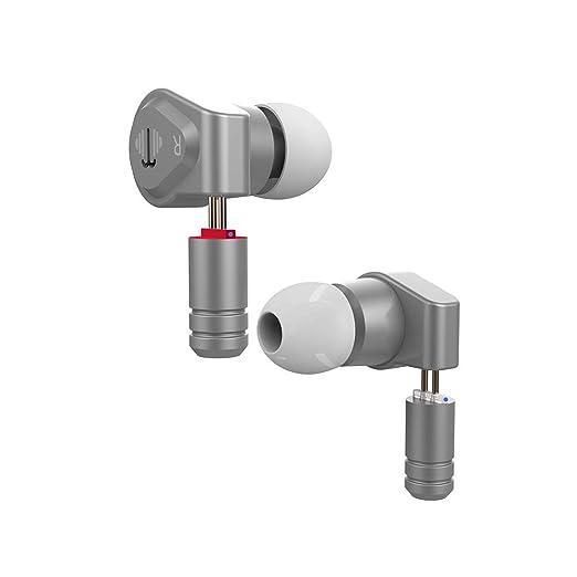 Yinyoo V2 IEM Audifonos Auriculares de diafragma HiFi con Controlador dinámico 1DD Graves Profundos Auriculares de Metal con 2 Pines Cable Desmontable ...