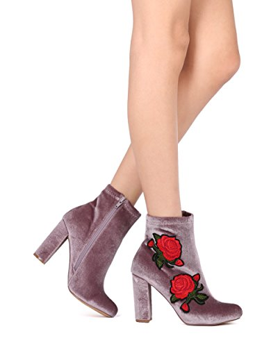 Rose Alrisco Valvet Embroidered Taupe Heel Women HG16 Bootie Collection Patch by Liliana Velvet Chunky qtBtOrw