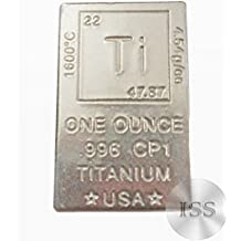 Fine .996 CP1 Pure Titanium - One Ounce Bar - Ingot - Collectable Element Design - 1oz Block - Dimensions (1x1.5x0.25) Inches