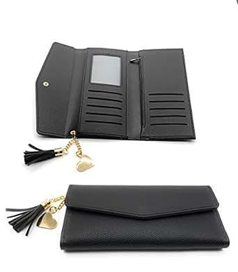 Wallet for Women 13 colors PU Leather Heart Pendant Tassel Card Holder Checkbook Organizer For Purse (Black, Long)