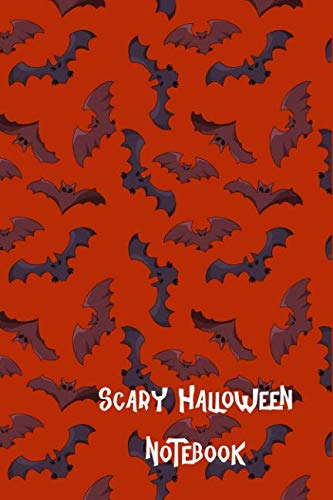 Scary Halloween Notebook: Flying Bats Children's College Ruled Lined Pages Composition -