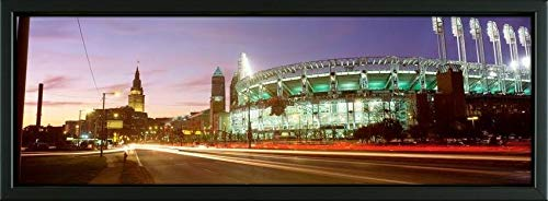 Easy Art Prints Panoramic Images's 'Low Angle View of a Baseball Stadium, Jacobs Field, Cleveland, Ohio, USA' Premium Framed Canvas Art - 24