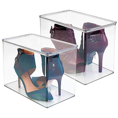 "mDesign Stackable Closet Plastic Storage Bin Box with Lid - Container for Organizing Mens and Womens Shoes, Booties, Pumps, Sandals, Wedges, Flats, Heels and Accessories - 9"" High, 2 Pack - Clear"