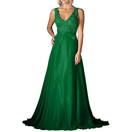 Pailletten Brautmutterkleider V Festlichkleider Grün Abendkleider Brau Chiffon Ausschnitt A mia Linie Rock Langes Spitze La Ballkleider 8HfIUwq