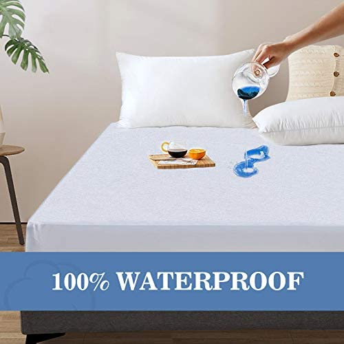 "Full Size Mattress Protector Waterproof Full Mattress Cover Fitted Full Mattress Protector Soft Breathable Noiseless Cotton Terry Vinyl-Free Fitted 14"" Deep Pocket White - 54"" x 75"""