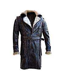 Fashions Maniac Elder Maxson Fall Out Distressed Leather Coat with Fur