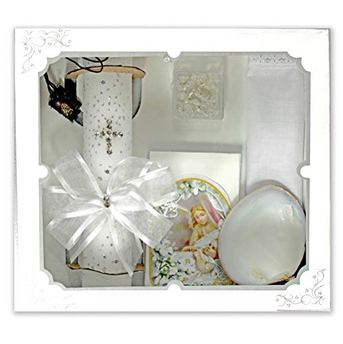 Baby Boys and Girls Baptism Candle Set for Christenings with Shell, Rosary, Missal Book, Handkerchief #BC5157 English