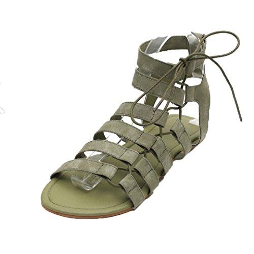 IGEMY Women Sandals, Women Bohemia Sandals Gladiator Flat Peep-Toe Sandals Shoes Roman Strap Sandals Green