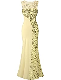Angel-fashions Women's Sequin Lace Beaded Backless Mermaid Long Evening Dress