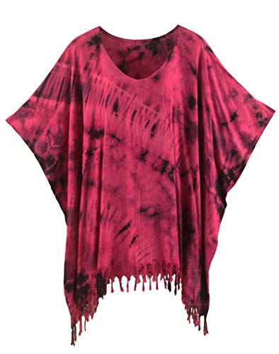 (Beautybatik Fuchsia Boho Hippie Batik Tie Dye Tunic Blouse Kaftan Top 4X )