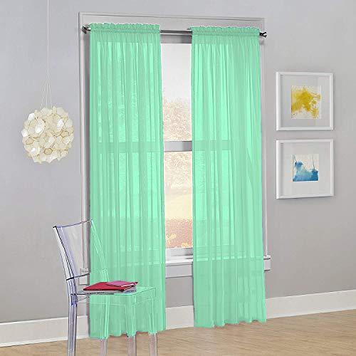 "Decotex Set of 2 Sheer Voile Transparent Window Panel Curtain Drapes (54"" W X 63"" L, Mint)"