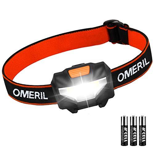 Linterna Frontal LED OMERIL Linterna Cabeza (3 Pilas AAA Incluidas), Super Ligera (43g), 3 Modos de Luz, IP44…