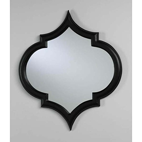 Black With Red Accents Large Arabesque Mirror 25'' by Zinc Decor