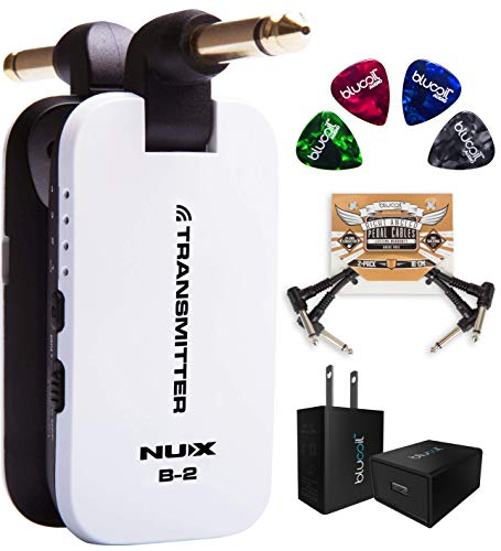 (NUX B-2 Wireless System 2.4GHz Transmitter and Receiver (White) Bundle with Blucoil 5V 1000mA USB Wall Adapter with US Plug, 2-Pack of Pedal Patch Cables and 4-Pack of Celluloid Guitar Picks)