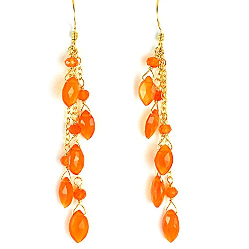 Vivid Orange Natural Carnelian Chain Earrings, Artisan Crafted in 14K Gold (Gold Filled Chain Earrings)
