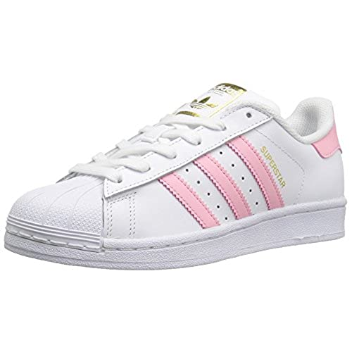 adidas Originals Boys' Superstar Foundation J Sneaker, White/Clear Light  Pink Metallic/Gold, 6 M US Big Kid