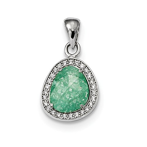 (925 Sterling Silver Green Ice Cubic Zirconia Cz Dangle Pendant Charm Necklace Fancy Fine Jewelry Gifts For Women For)