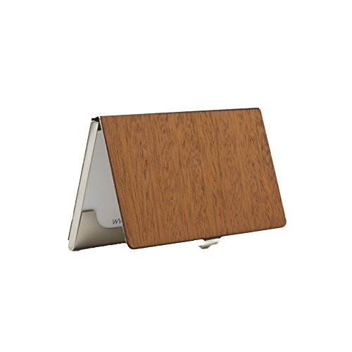 WOODCHUCK Wooden Business Card Holder (Mahogany), Handmade in the USA – Stainless Steel Body
