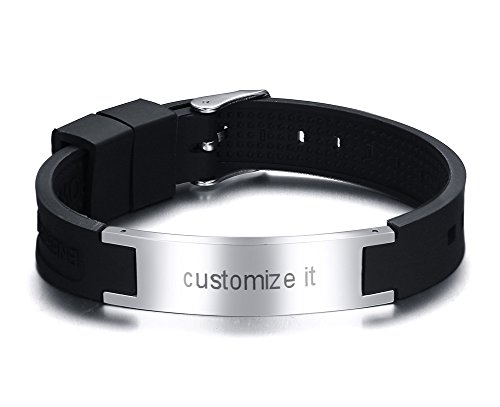 Personalized Engraving Unique Silicone & Stainless Steel ID Bracelets with Mangetic Details for Men,Adjustable