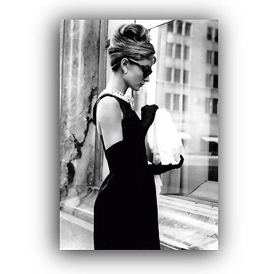 AUDREY HEPBURN CANVAS FRAMED WALL ART PRINT - BREAKFAST AT TIFFANYS ...