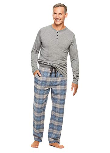 Haggar Men's 2-Piece Pajama Set | Long Sleeved Sleep Top & Plaid Pants -