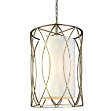 Troy Lighting Sausalito 4-Light Pendant - Silver Gold Finish with Hardback Linen Shade by Troy