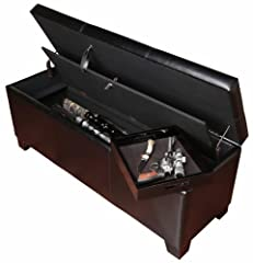 The gun concealment bench provides a clever way to store your firearms with room for up to five long guns. A removable wood tray is also provided for handguns or other accessories. This attractive stitched, brown poly-urethane bench features ...