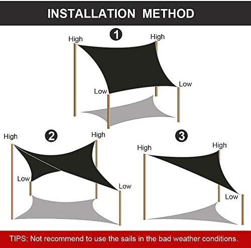 Vela de Sombra 3x4m Rectangular Toldo Vela Impermeable Protección ...