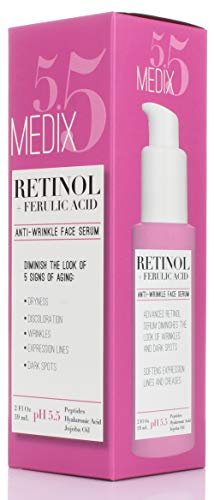 41d5wvGk4sL - Medix 5.5 Retinol Cream & Retinol Serum two-piece set. Anti-aging retinol set w/ferulic acid for wrinkles, fine lines, expression lines, dark spots. Contains 2oz serum & 15oz cream for face & body